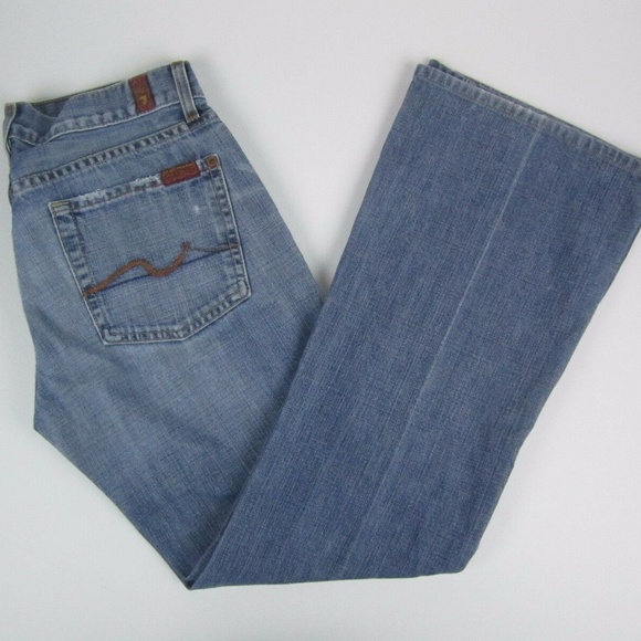 7 For All Mankind Denim - 7 For All Mankind Flare Stonewash Low Rise Womens